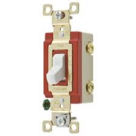 Bryant Hubbell White INDUSTRIAL Toggle Wall Light Switch Single Pole 20A 4901-W
