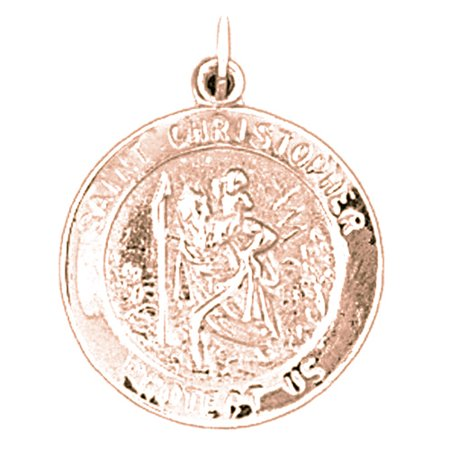 Rose Gold Plated 925 Sterling Silver 25Mm Saint Christopher Coin Charm Pendant  Approx  2 55 Grams