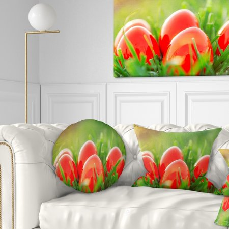 design art designart 'red easter eggs in green grass' landscape photography throw - Red Easter Grass
