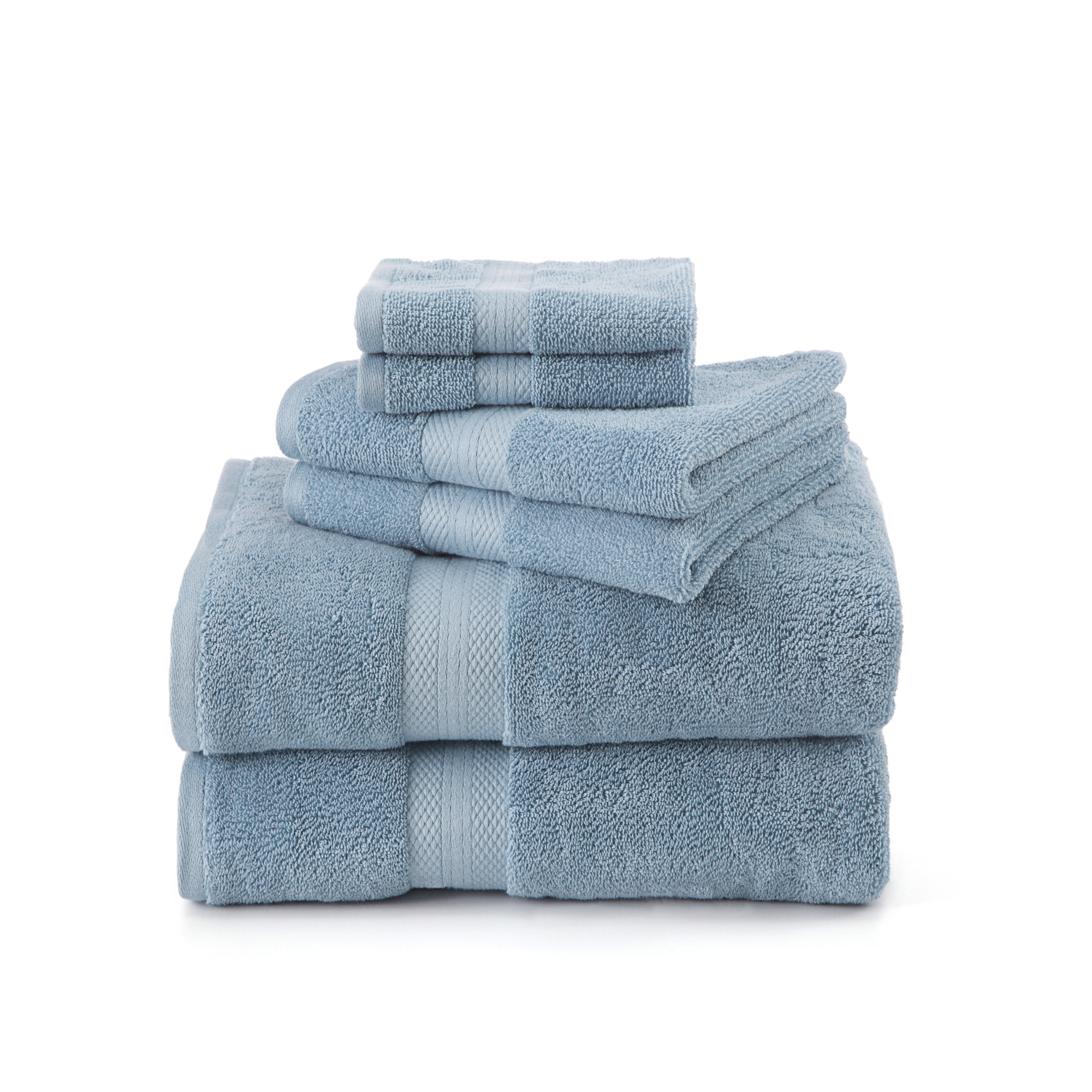 Click here to buy Absorbent 6 Piece Sage Towel Set by WestPoint Home.