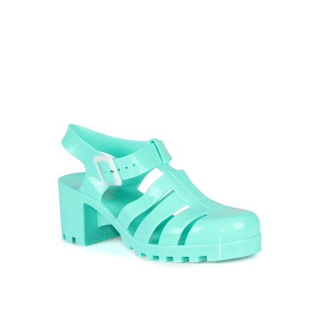 Nature Breeze Womens Caged Block Jelly Sandals in Green