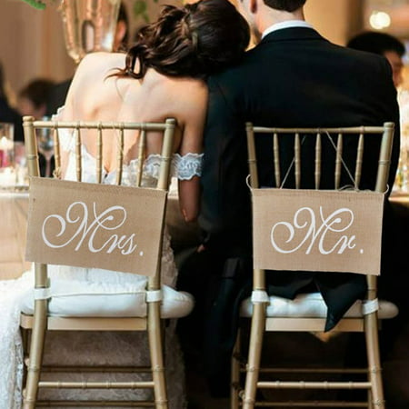 1 Set of 2 Burlap Bows Mr. & Mrs Burlap Chair Banner Set Chair Sign Garland Rustic Wedding Party Decoration - Custom Wedding Banner