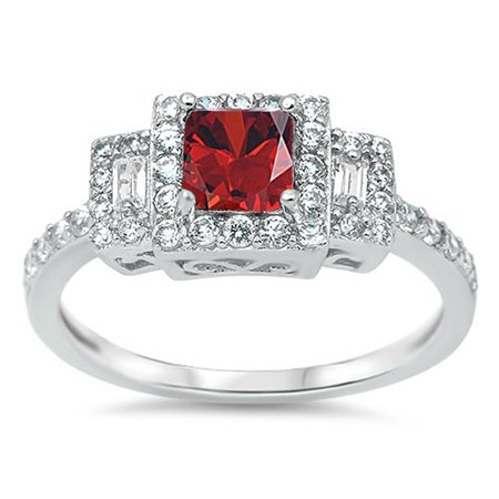 CHOOSE YOUR COLOR Simulated Garnet Square Solitaire Polished Ring New 925 Sterling Silver Band