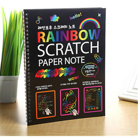 1Pcs Scratch Paper Art Kit Rainbow Painting Sketch Pad with Drawing Stick Kids Education Toy - Improve Parent Child Relationship - Gift for Kids ,26x19cm