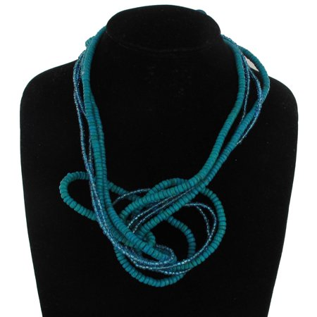 Turquoise Blue Wood Beaded Bendable Wire Sculpture Necklace Statement