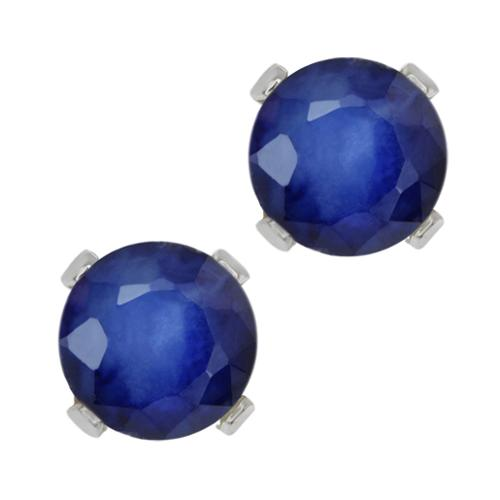 0.72 Ct Round Blue Sapphire 10K White Gold 4-prong Stud Earrings 4mm