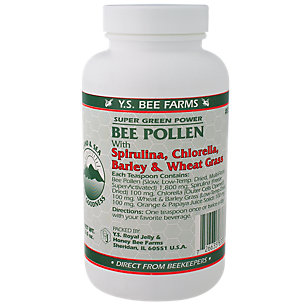 Bee Pollen with Spirulina, Chlorella, Barley & Wheat Grass YS Eco Bee Farms 6 oz Powder