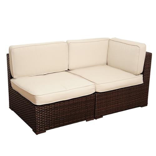 Atlantic Modena 2-piece Brown Wicker Seating Set with Off-White Cushions by Overstock
