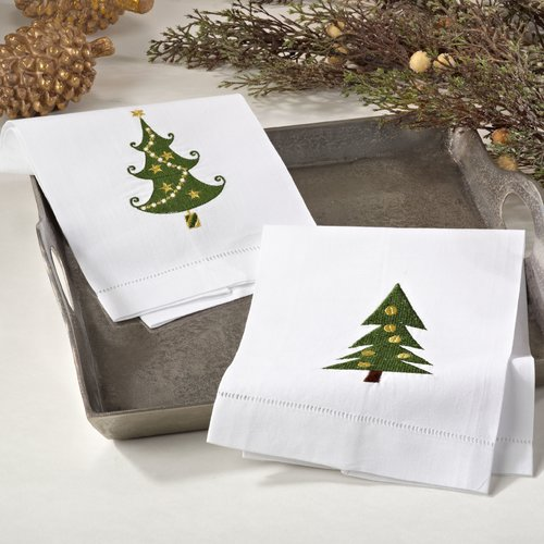 The Holiday Aisle Embroidered Christmas Tree Motif Holiday Hemstitched Linen Cotton Guest Hand Towel (Set of 4)