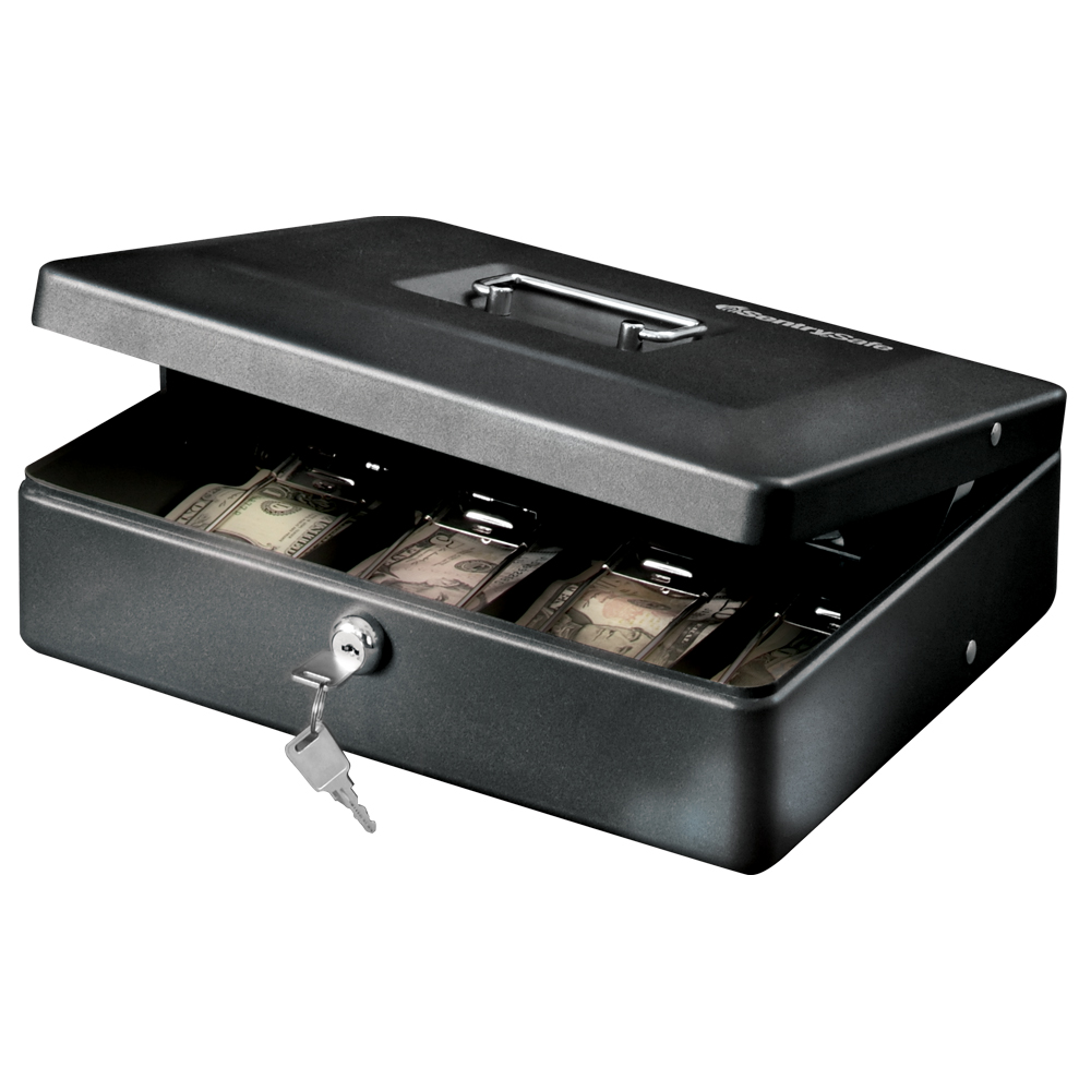SentrySafe DCB-12 Deluxe Cash Box with Money Tray and Key Lock 0.21 cu ft