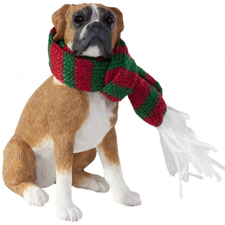 Sandicast Sitting Fawn Boxer with Scarf Christmas Dog Ornament