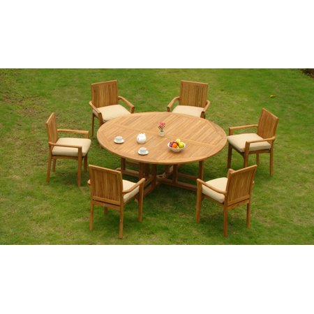 teak dining set 6 seater 7 pc 72 round table and 6 lua stacking arm