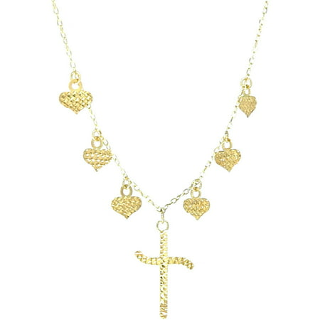 Jewelry 14kt Yellow Gold Diamond-Cut Dangling Heart and Cross Religious Love Necklace, 18 Chain Chain Dangling Cross