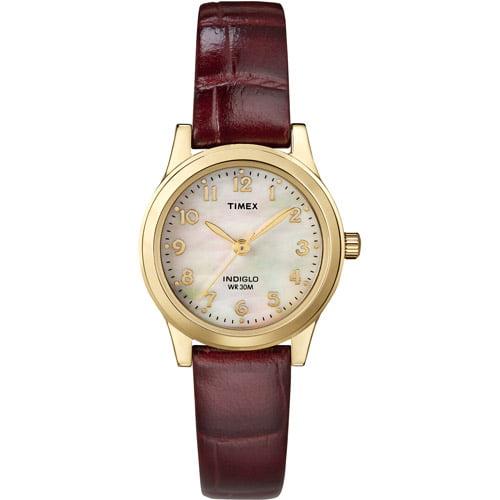 Timex Women's Essex Avenue Watch, Burgundy Croco Pattern Leather Strap