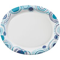 Amscan Teal Summer Oval Plates, 100 Count, 10 Inches by 12 Inches Each