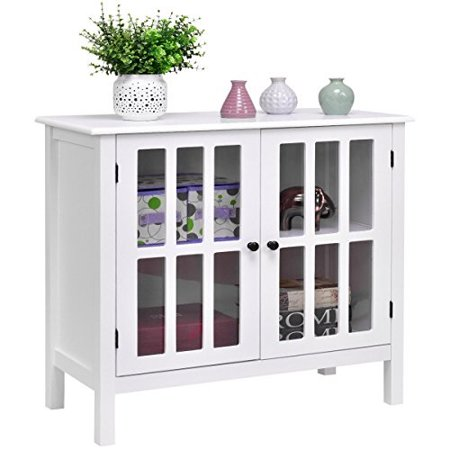 New White Storage Buffet Cabinet Glass Door Sideboard Console Table Server Display ()