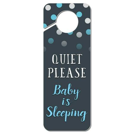 Quiet Please Baby is Sleeping Blue Plastic Door Knob Hanger Sign ()