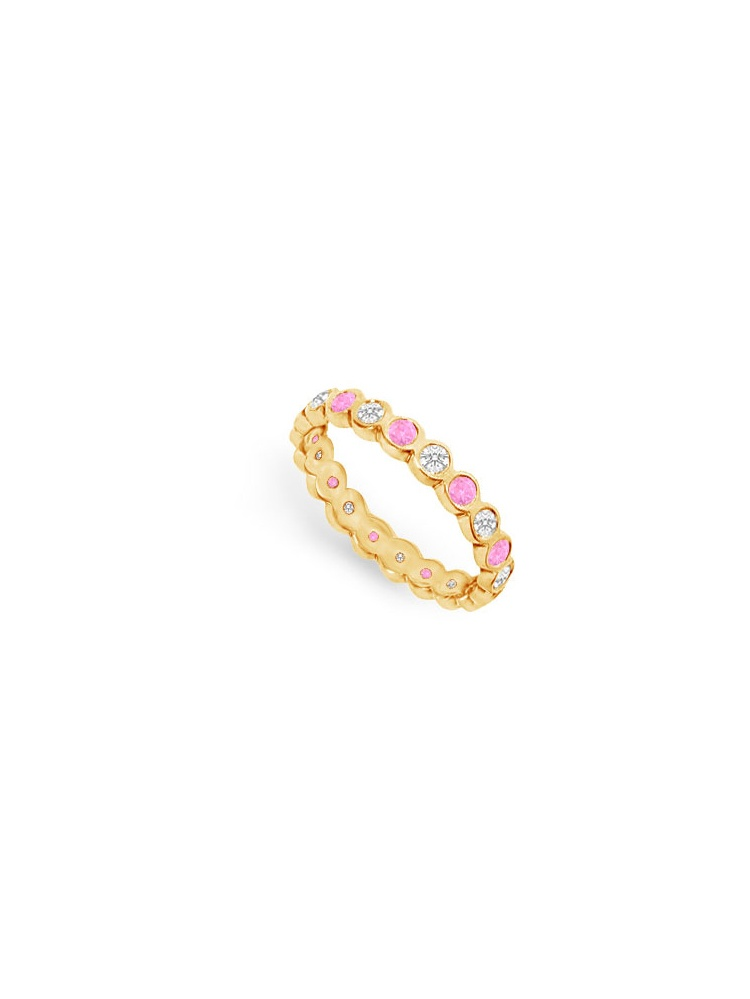 Pink Sapphire and Diamond Eternity Band 14K Yellow Gold 1.00 CT TGW by Love Bright