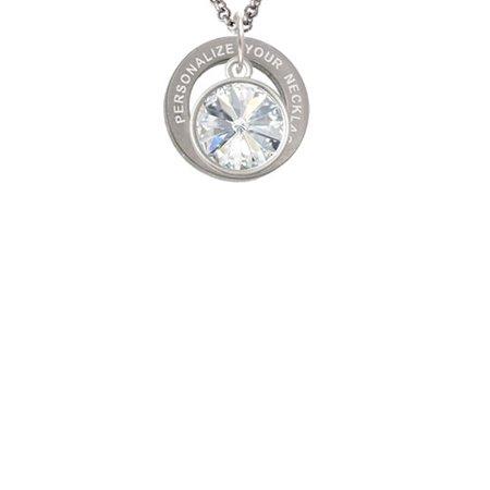 12mm Crystal Rivoli - Clear Custom Engraved Affirmation Ring Necklace
