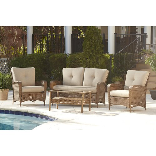 Cosco Outdoor 4-Piece Lakewood Ranch Steel Woven Wicker Patio Furniture Conversation Set with Cushions and Coffee Table, Brown