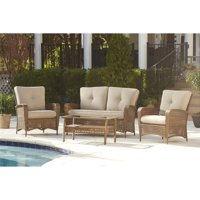 Cosco Outdoor 4-Piece Lakewood Ranch Steel Woven Wicker Patio Set with Cushions and Coffee Table (Brown)