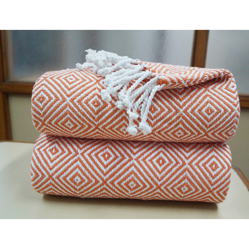 Affinity Linens Elegancia 2 Piece 100pct Cotton Diamond Weave Throw Set