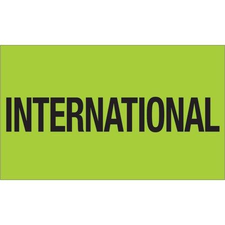 Box Partners Labels International 3X5 Fluor Grn 500 Rl   Bxp Dl1118