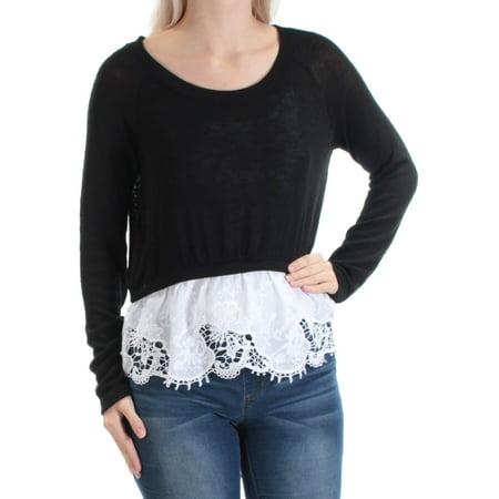 MAISON JULES Womens Black Lace  Trim Long Sleeve Scoop Neck Sweater  Size: S