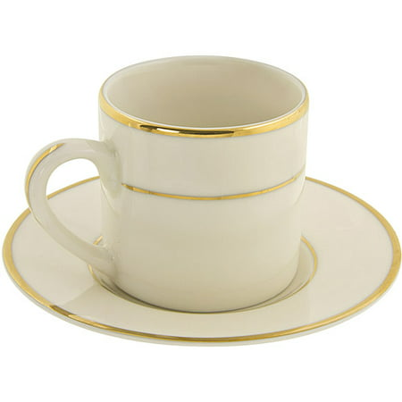 10 Strawberry Street Cream Double Gold 3 oz Demi Can Cup and Saucer, Set of 4, Cream with Gold Border