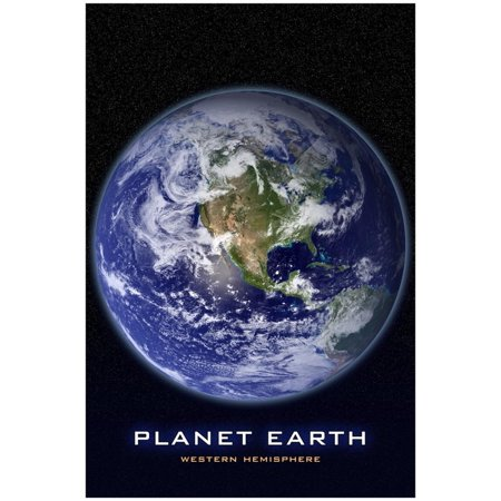 Planet Earth From Space Western Hemisphere Photo Poster - 13x19