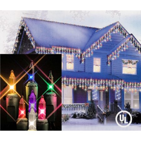 set of 100 multi color icicle christmas lights green wire