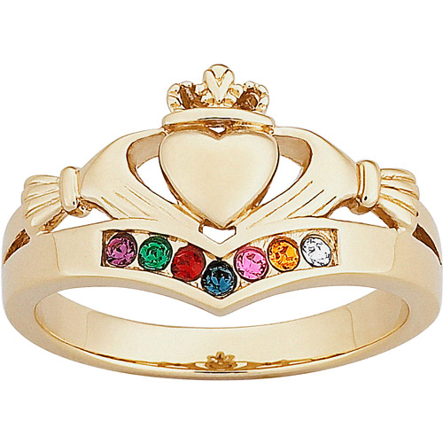 Personalized 14kt Gold over Sterling Silver Family Birthstone Claddagh Ring