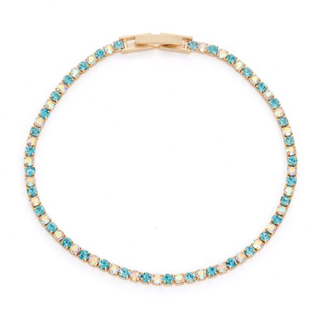 X & O 14KT Gold Plated Crystal Single Row Bracelet in Aquamarine and Crystal AB