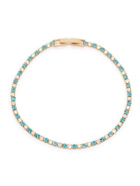 X & O 14KT Gold Plated Crystal Single Row Bracelet in Aquamarine and Crystal AB Combination