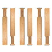Bamboo Large Drawer Dividers Organizer - Spring Loaded Adjustable  Expandable Drawer Separator for Kitchen, Dresser, Bedroom, Baby Drawer, Bathroom, Office (Set of 6)
