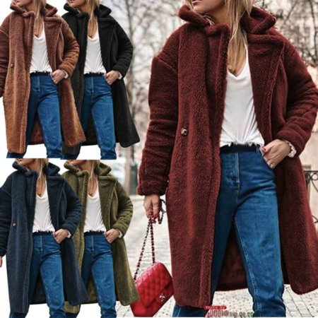 Fashion Women Winter Warm Lapel Cashmere Long Sleeve Coat Jacket Thick Cardigan