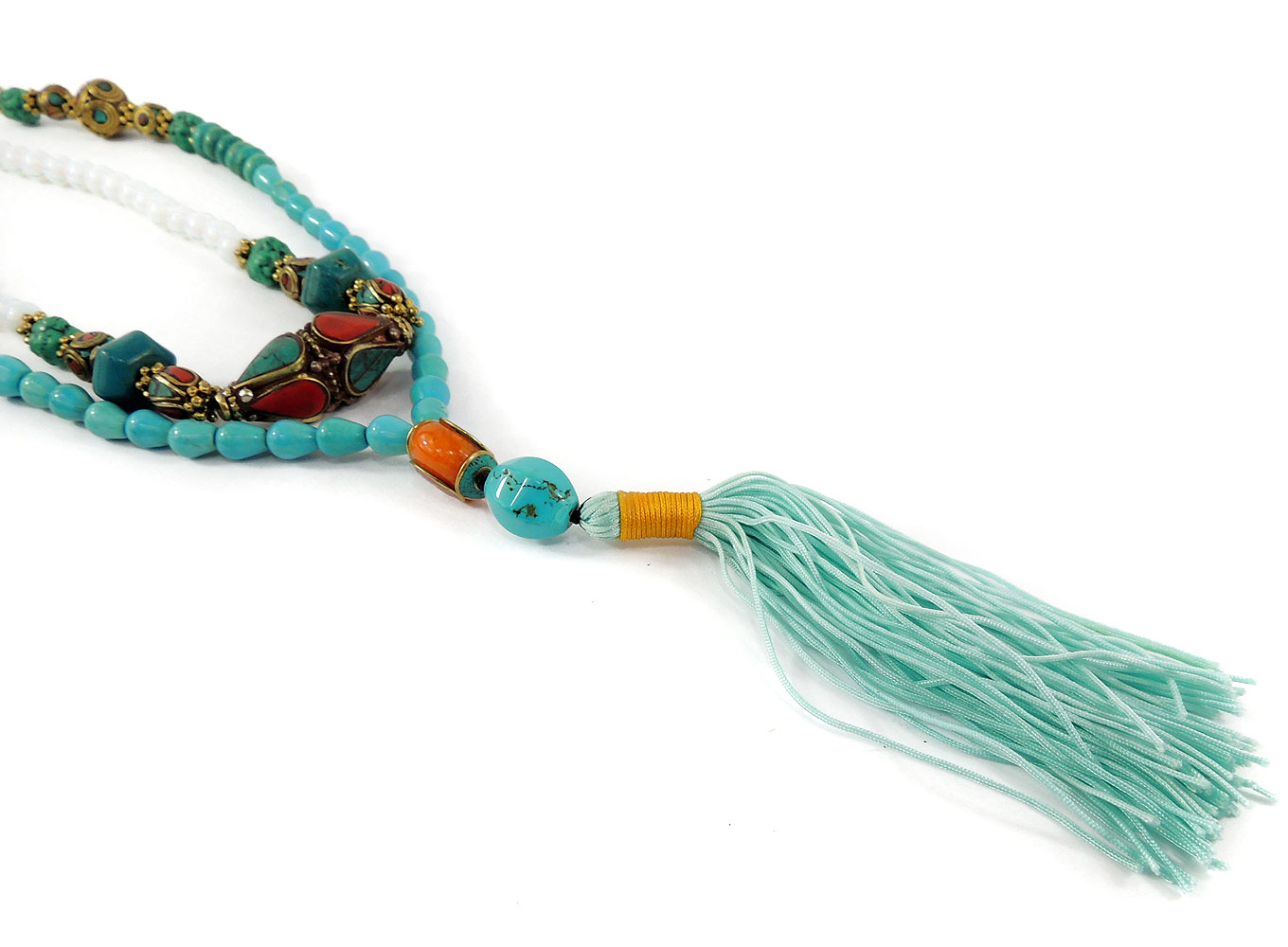 Tibetan Prayer Beads Necklace Baby Moon Turquoise Mala 44 Inch by