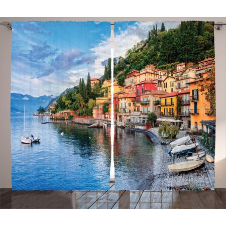 Italian Curtains 2 Panels Set, Summer Village by the Mediterranean Sea with Yacht Boats Idyllic Town Panorama, Window Drapes for Living Room Bedroom, 108W X 108L Inches, Multicolor, by Ambesonne (Two Village Boats)
