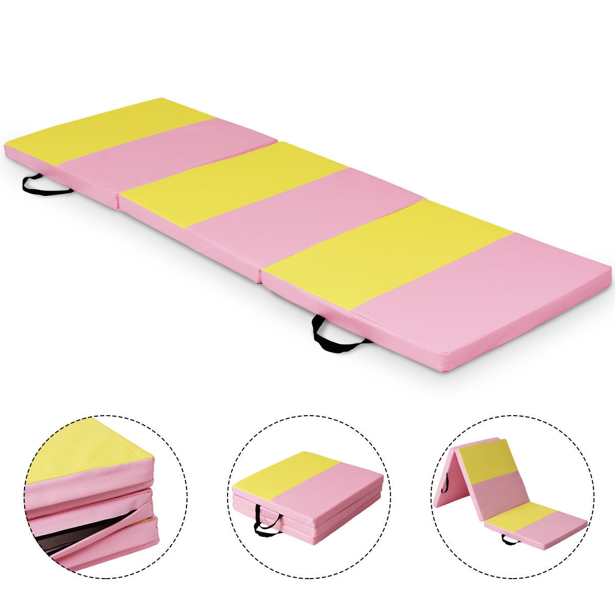 Costway Pink&Yellow Tri-Fold Gymnastics Mat 6'x2' Folding Fitness Exercise Carry Handles