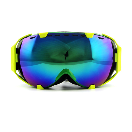 Ediors Windproof Snowmobile Ski Snow Goggles Eyewear  - Anti Fog Double Lens All Mountain / UV Protection (105-2, Revo Green)