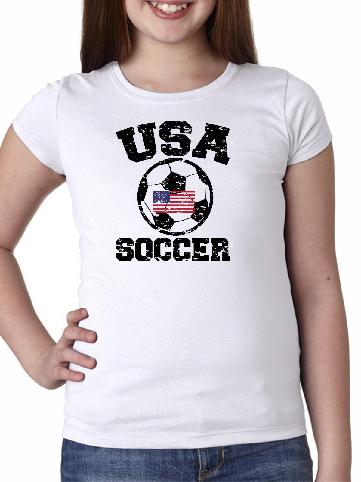 USA Soccer - with Large Soccer Ball & Flag - Olympic Girl's Cotton Youth T-Shirt