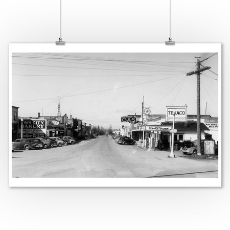 East Stanwood  Washington   Street Scene  View Of A Texaco Gas Station   Vintage Photograph  9X12 Art Print  Wall Decor Travel Poster
