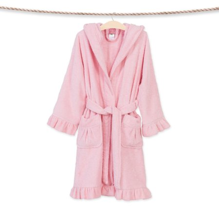 Linum Sweet Kids Ruffled Turkish Cotton Hooded Terry Bathrobe