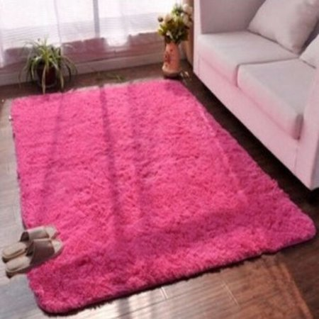Rose Red 48 X32 Modern Soft Fluffy Floor Rug Anti Skid
