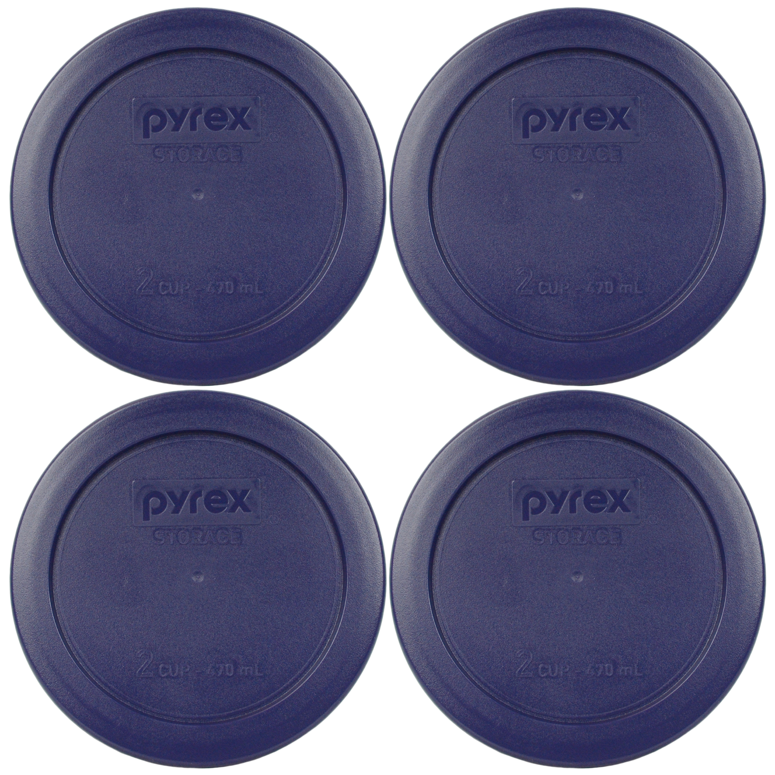 Pyrex Replacement Lid 7200-PC Blue Round Plastic Cover (4-Pack) for Pyrex 7200 2-Cup Bowl (Sold Separately)