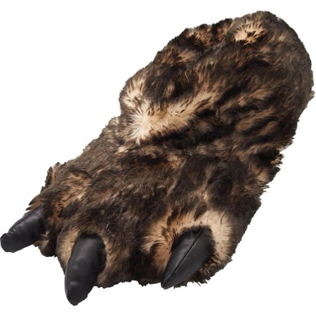 (Norty Grizzly Bear Stuffed Animal Claw Slippers - Plush Paw Slippers - Furry Ani, 39421 Brown Tip Claw / Large)