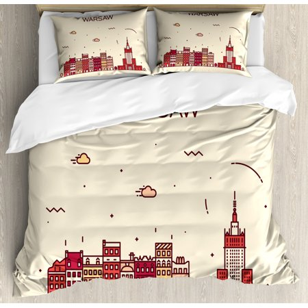 Polish Duvet Cover Set, Warsaw Calligraphy with a Skyline Graphics, Decorative Bedding Set with Pillow Shams, Champagne Dark Salmon, by Ambesonne ()