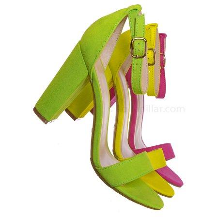 Mania03 by Bamboo, Neon Block Heel Sandal - Women Open Toe Ankle Strap Shoe (Neon Stripper Heels)