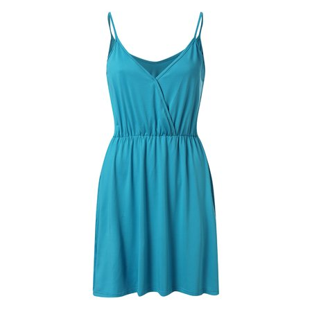 UKAP Womens Tunic Casual Criss Cross V Neck Slim Solid Pleated Elastic Spagetti Strap Sexy Sleeveless Dress Plus (Solid Pleated Dress)