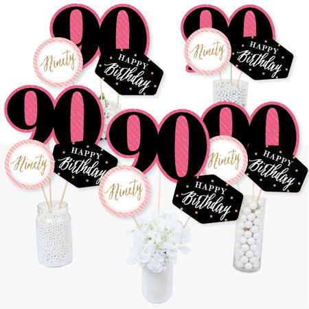 Chic 90th Birthday - Pink, Black and Gold - Birthday Party Centerpiece Sticks - Table Toppers - Set of 15